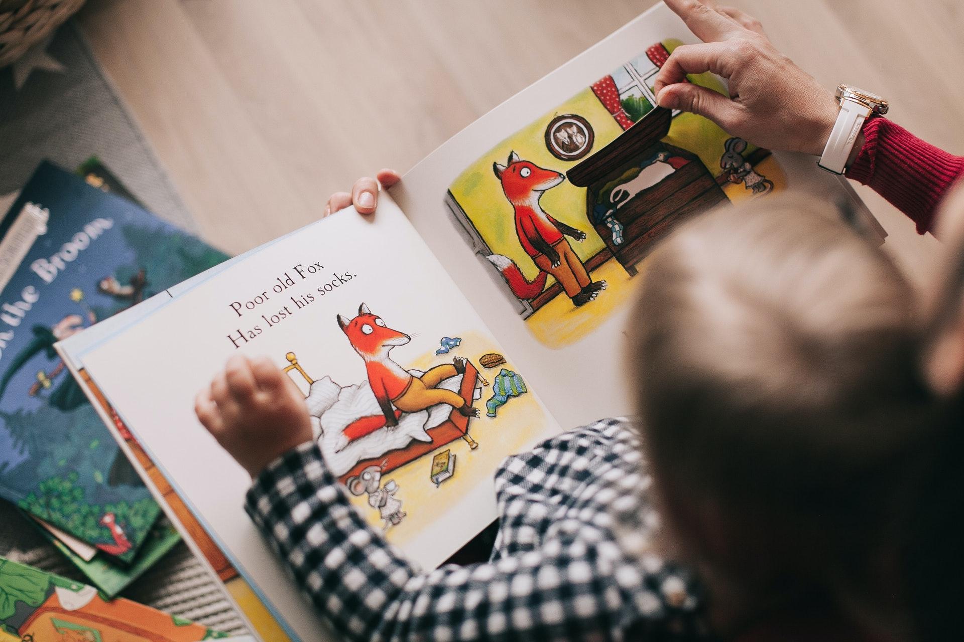 Dječak čita slikovnicu